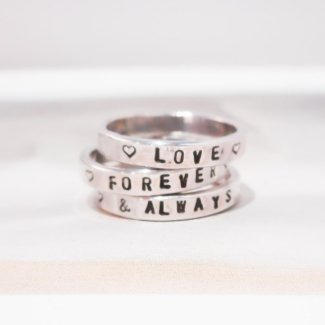 Custom Text 3 Ring Set $105
