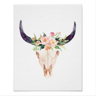 Floral Bull Skull Poster $17