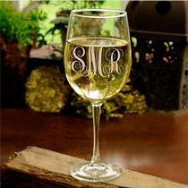 INTERLOCKING MONOGRAM ETCHED WINE GLASS