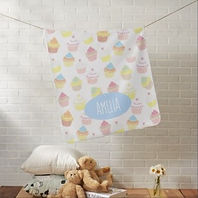 cute personalised baby blanket with cupcake pattern
