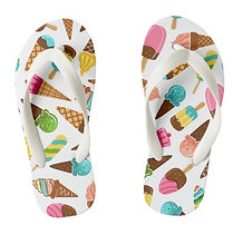 kids summer holiday ice cream pattern kids flip flops