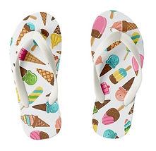 kids summer holiday ice cream pattern kids flip flops