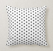 black and white polka dot cushion