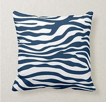 navy wavy striped cushion
