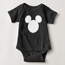 classic mickey mouse ears black baby bodysuit