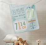 baby boy's personalised baby blanket with name and birth stats