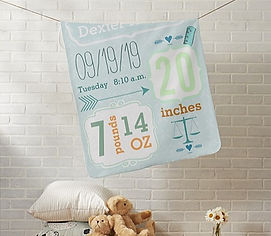 personalised baby blanket with baby's name and birth statistics