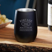 cool black personalised stemless glass