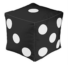 novelty black dice cube pouf