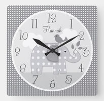 Grey Elephant Personalised Nursery Clock