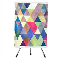colorful boho geometric pattern tripod lamp