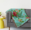 tropical floral teal throw blanket