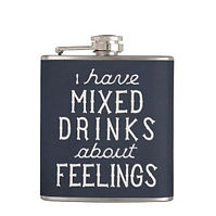 mixed drinks about feelings funny quote hip flask