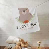woodland bear I love you baby blanket