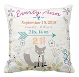 woodland fox personalised baby cushion with birth stats