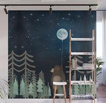 Woodland Bear Moon Nursery Mural