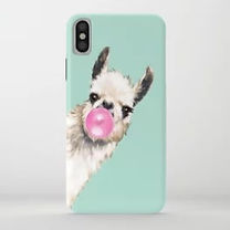 funny llama and bubble gum iphone case