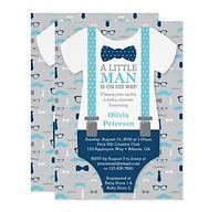 little man bowtie boy baby shower invitation