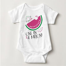 one in a melon funny quote baby bodysuit