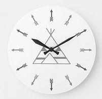 Black and White Minimalist Tribal Teepee Clock