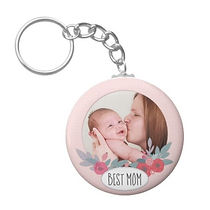 PRETTY FLORAL MOM PHOTO KEYCHAIN