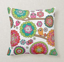 colorful cute birds and flowers art cushion