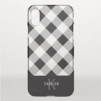black and white plaid personalised iphone case