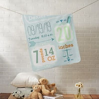boy's personalised baby blanket with name and birth statistics