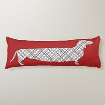 red plaid dachshund body pillow