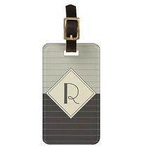 stylish retro monogram mens luggage tag