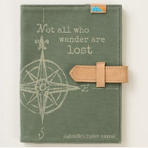 green canvas travel quote and compass travel journal