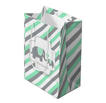 mint and grey stripes elephant baby gift bag