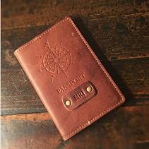 personalised debossed leather mens passport holder