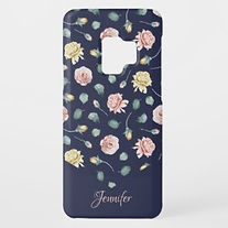 elegant floral navy personalised samsung case