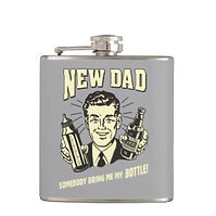 funny new dad gift retro art hip flask