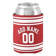 sports jersey number red white can cooler
