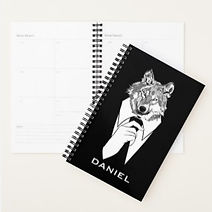 quirky wolf in suit personalised planner