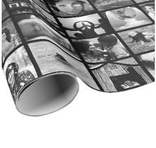 custom black and white photo collage wrapping paper