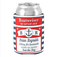 funny nautical boatweiser monogram can cooler