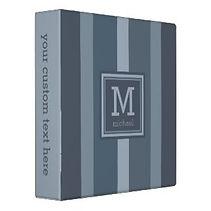 elegant blue striped monogram mens ring binder
