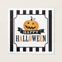 happy halloween pumpkin party napkins