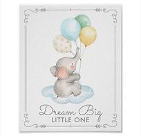 dream big little one baby elephant nursery art