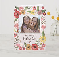 pretty floral custom photo mothers day card