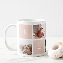 pastel pink love and photo collage custm mug