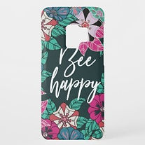 be happy modern floral quote samsung case