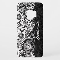 elegant black and white floral personalised samsung case