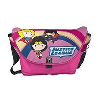 chibi justice league pink girls messenger bag