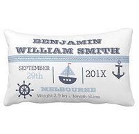 Nautical Birth Stats Pillow
