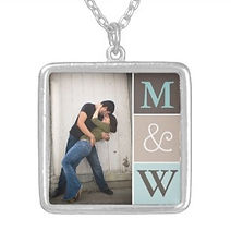 personalised couples photo necklace with initials