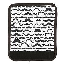 black and white mushtache pattern luggage handle wrap